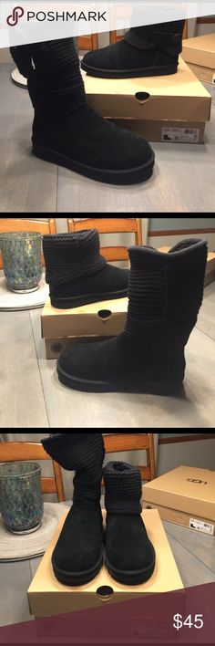 """UGG Children's Darrah Knit Boot SZ 5 Big Kid BNIB  UGG Darrah (Youth) - the Darrah's suede and knit silhouette keeps feet undeniably cozy. Suede  Imported Rubber sole Shaft measures approximately 5.5"""""""" from arch 5 Big Kid M , Black Product Dimensions14 x 12 x 6 inches ASINB01AGV8HES ~Knit upper cuff able~ UGG Shoes Boots"""