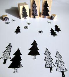 stamp set via Diy Stamps, Homemade Stamps, Noel Christmas, Winter Christmas, Christmas Crafts, Diy Arts And Crafts, Book Crafts, Diy Crafts, Japanese Sweets