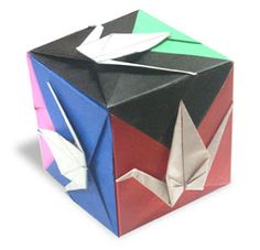Origami Crane Cube instruction by Fumiaki Shingu