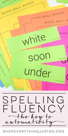 """Spelling Fluency   everythingjustso.org   Want a way to increase automaticity in the words your students write most frequently? Need to reinforce concepts learned during spelling lessons? Meet """"Spelling Fluency."""" Of everything I tried throughout the years, Spelling Fluency practices have been the only way my students achieved spelling success that transferred to their writing. Students took ownership of the words they """"mastered"""" and no longer relied on me to spell grade appropriate words."""