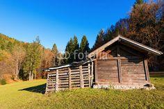Wooden Shed - Val di Sella Trentino Italy / Typical wooden shed in Italian Alps - Val di Sella (Sella Valley), Borgo Valsugana, Trento, Italy