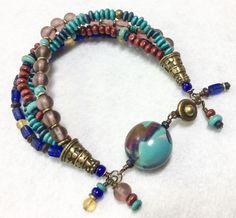 Chris Francisco bracelet features handmade polymer clay focal bead