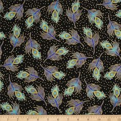 Beau Monde Metallic Feathers Peacock from @fabricdotcom  Designed by Studio RK for Robert Kaufman, this cotton print is perfect for quilting, apparel and home decor accents.  Colors include black, blue, teal, aqua, mustard and metallic gold.