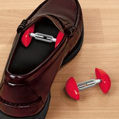 "SHOE STRETCHERS - 1 PAIR Product # HC2965 $7.98 CAD - Give pinching, tight-fitting shoes and boots that roomy feel you want. Adjustable stretchers gently expand shoe width for a comfier, custom fit. Helps ease pressure on corns, bunions or blisters. Just insert into front of shoe and dial each side to expand from 2-3/4"" to 4"" wide. One size works on men's, women's, and children's shoes."