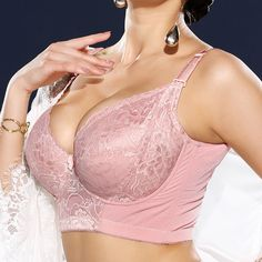 79c9efc7604460 Sexy Plus Size Embroidery Gather Plunge Thin J Cup Push Up Long Lined Lace  Bra -