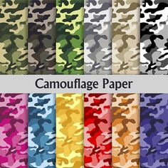 "Digital Paper pack: ""Camouflage Paper"" with blue, pink, grey, yellow, black, green, red, orange patterns for scrapbook, invites, card making"