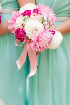 mint and petal pink bridesmaids bouquet