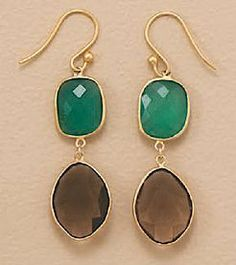 14K Gold Plated Sterling Silver French Wire Earrings, Green Onyx/Smoky Quartz, 1-3/8 inch Silver Messages. $44.99. Save 29% Off!