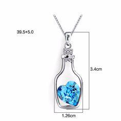 Vintage 2016 Silver chain cute girl crystal tiffan jewelry Heart Wishing bottle statement Pendant Necklaces for women SWXA9