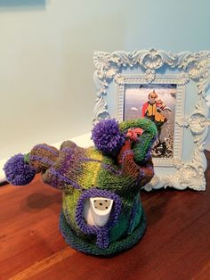 "Robin Spencer knitted ""Funny Ha Ha"" (variation on the theme of The Jester) from REALLY Wild Tea Cosies 2010"