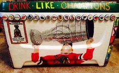 Frat formal cooler Chicago Blackhawks  Stanley cup Hockey  Beer bottle caps NHL
