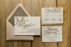Blush and Gold Glitter Elegant Wedding Invitations