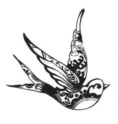 another tattoo idea might get a swallow in this kind of design! so pretty. the alternative is to have just a silhouette, and i've been drawing tons of concepts for that. looking to get it done around easter time! c: by dartvainer on deviantART