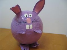 2012-Purple bunny paper mache piggy bank