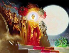 Tushita gods bidding Buddha adieu on his descent from Heaven