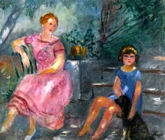 Lola and child with the Dog Pitou, Valfour / Charles Camoin - 1921-1923