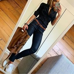 B L A C K ​​# outfit # ootd # blackoutfit # dailypost # dailyinspiration # instalook # f . Casual Work Outfits, Business Casual Outfits, Mode Outfits, Work Attire, Work Casual, Chic Outfits, Casual Chic, Casual Looks, Fall Outfits