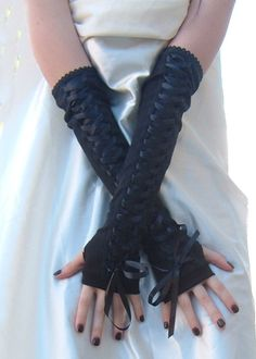 Arm Warmers Black Lace up corset styled fingerless gloves goth gothic lolita punk steampunk belly dancing noir Wedding by mellode www.etsy.com/shop/mellode
