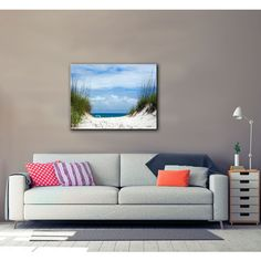 ArtWall Antonio Raggio 'Ocean Path' Gallery-Wrapped Canvas featuring polyvore, home, home decor, wall art, blue, contemporary canvas wall art, photography wall art, ocean home decor, blue canvas wall art and blue home decor