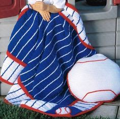 Baseball Afghan & Pillow Crochet Patterns Blanket Throw Instructions