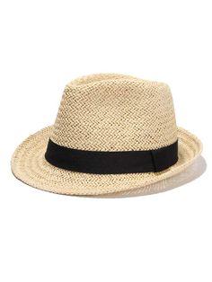 360f575d7802d2 Gigi Beach Beauty Straw Fedora Hat with Contrast Black band