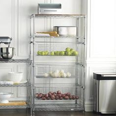 Tower Shelving With Pull-Out Bins - Frontgate Kitchen Rack, Pantry Shelving, Storage Shelves, Shelves, Diy Pantry Organization, Frontgate, Camping Gear Storage, Shelving, Kitchen Storage