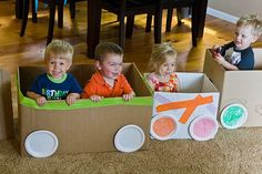 Thought of you, @Tildie Willoughby -- Aaron's preschool teacher made a train out of cardboard boxes (and small paper plates for the wheels) for their Polar Express party -- the kids LOVED it. It would also keep them all contained for the presents, cake, etc.  :)