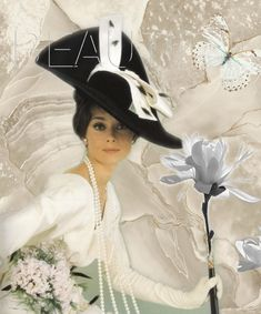 White dress, black hat and long strands of pearls. Audrey Hepburn.