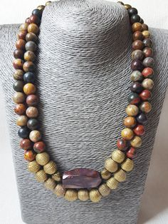Double Strand Round Natural Picasso Jasper Bead by AbaloneStore