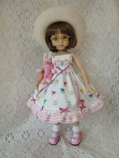 "Easter Tulips Outfit Dianna  Effner 13"" Little Darling Doll Made by RRS"
