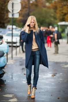 navy coat + camel sweater + jeans + tan lace up boots
