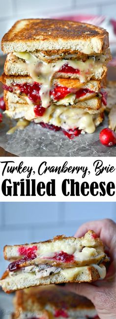 Turkey Cranberry Brie Grilled Cheese is a delicious way to use up holiday leftovers. Turkey, cranberry sauce, and melted cheese combine for a mouthwatering bite. #leftoverturkey #thanksgivingleftovers #turkeysandwich Best Thanksgiving Recipes, Christmas Recipes, Christmas Meals, Thanksgiving Leftovers, Thanksgiving Food, Fall Recipes, Holiday Recipes, Leftover Turkey Recipes, Leftovers Recipes