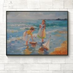 100%Hand Painted Oil Painting on Canvas Modern Wall Picture Children beach seascape Painting Wall Art decorative for Living Room