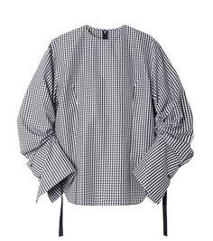 ルシェルブルー/LE CIEL BLEU - ギンガムチェックドローストリングシャツ-BLACK(シャツ/shirt) | RESTIR リステア