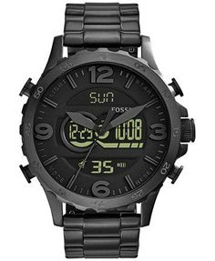Fossil Men's Analog-Digital Nate Black Ion-Plated Stainless Steel Bracelet Watch 50mm JR1507 | macys.com - mens cuff watches, brands of mens watches, mens watches under 50 *ad