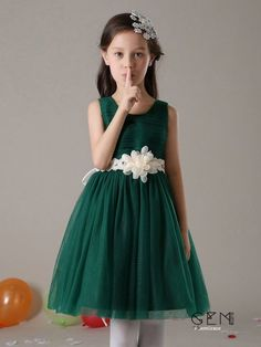 d9bb35c9cb1 Short A Line Pleated Tulle Hunter Green Flower Girl Dress with Crystal Sash