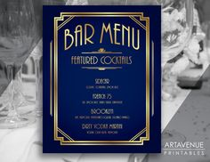 Custom BAR MENU Sign Printable Art - Custom Printable - Personalized Bar Menu Print - Personalized Wedding - Gatsby Party Menu - Art Deco Menu - Cocktail Menu - Classic Cinema Great Gatsby Wedding Art Deco Style - Retro - Navy and Faux Gold *Please note that only the text can be