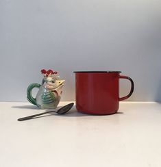 Excited to share the latest addition to my #etsy shop: Large Red Enamelware Mug * Enamelware Cup * Coffee Mug * Coffee Cup * French Country * Farmhouse Kitchen * Primitive #housewares #red #birthday #mothersday #white #metal #redenamelware #coffeemug #coffeecup