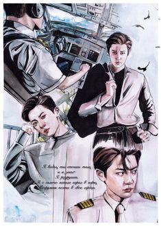 Captain Park ✈️ by on FanBook Kpop Drawings, Art Drawings Sketches, Exo Anime, Exo Fan Art, Cartoon Fan, Park Chanyeol Exo, Kpop Fanart, Chanbaek, Chibi