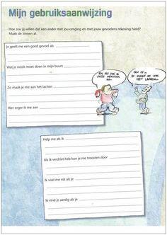 """Op Pinterest vond ik het werkblad """"mijn gebruiksaanwijzing"""". Afkomstig uit de methode Leefstijl. Met behulp van deze """"gebruiksaanwijzing"""" kunnen de kinderen elkaar goed leren kennen. En leren ze rekening houden met elkaars gevoelens. Dit zou kunnen bijdrage aan een beter pedagogisch klimaat. De vraag op het werkblad is: hoe zou jij willen dat een ander met …"""