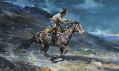 The romance of the American West's Pony Express has reached as far as Russia, as demonstrated by Valeriy Kagounkin's painting of a rider. Cowboy Pictures, Cowboy Pics, Pony Express, Cowboy Art, Le Far West, Jackson Pollock, Sports Art, Old West, Western Art