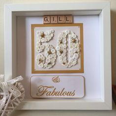 30th 50th 60th 70th Birthday personalised button art frame