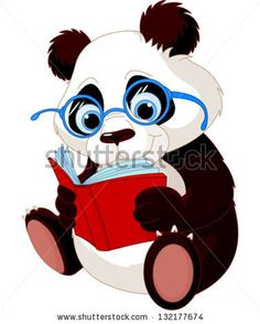 Cute Panda with glasses reading  a book. - stock vector
