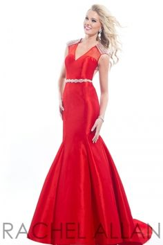 Stretch taffeta gown with hand beaded detail and open back