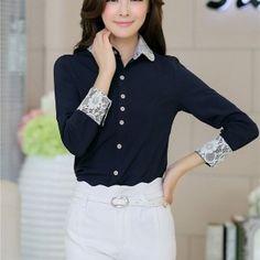 kemeja kerja wanita lengan panjang biru toko baju online
