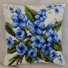 Forget me not cross-stitch cushion