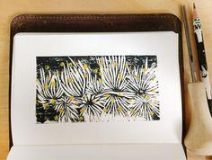 Night flowers - by Livia Prudilova - linocut