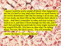 I guess I could be pretty pissed off about what happened to me, but it's hard to stay mad when there's so much beauty in the world...  - Lester Burnham/ American Beauty