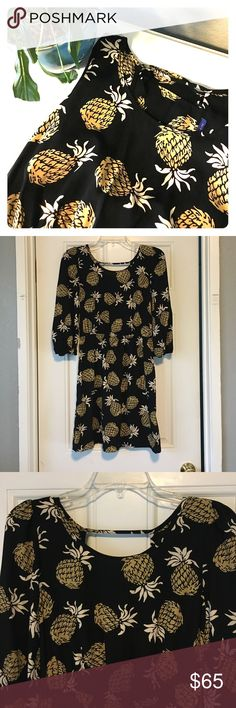 HP Pineapple Dress This pineapple dress is perfect for an evening out! It comes in a size medium and it is 100% polyester. It is 34inches in length, the pit to pit measurement is 18 inches, the sleeves go to the elbow, and the waist is elastic to fit various waist sizes. It has been lightly worn so it's in good condition. Let me know if you're interested! Sweet Claire Dresses