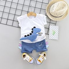 Boys Summer Outfits, Summer Boy, Toddler Outfits, Baby Boy Outfits, Kids Outfits, Baby Boy Clothing Sets, Clothes For Women, Children Clothing, Dino 3d